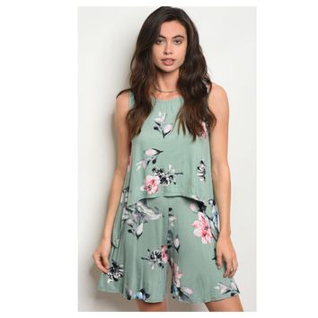 Adorable Floral Print Sage 2 Piece Short Top Set