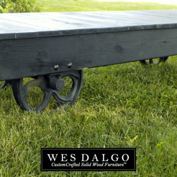 Industrial Machine Age Farmhouse Coffee Table Cart - Dark Black