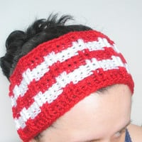 Wide Crochet Ear Warmer Headband in Red and White Stripes, ready to ship.