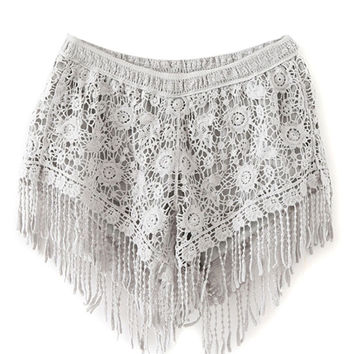 Grey Fringe Shorts