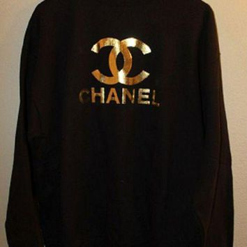 Chanel Casual Long Sleeve Sport Top Sweater Sweatshirt