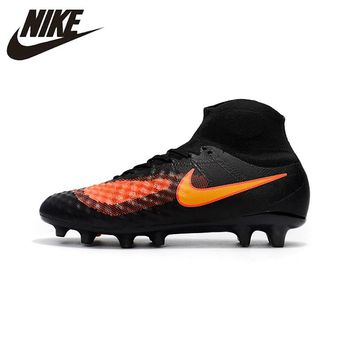 Nike Magista obra II FG Sneakers Soccer Shoes Black Orange Outdoor Lawn High Quality Men Football Shoes 844595-414 39-45
