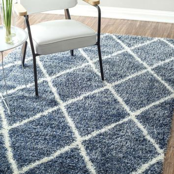 NuLOOM Machine Made Diamond Shag Rug Blue