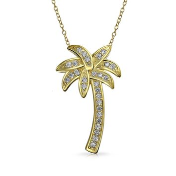 Palm Tree Pendant CZ Necklace 14K Gold Plated 925 Sterling Silver