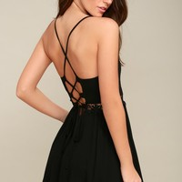 Walk of Fame Black Lace-Up Skater Dress