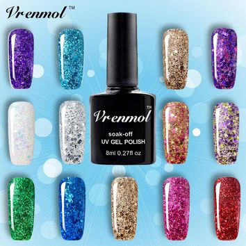 Vrenmol 3D Diamond Glitter Gel Nail Polish Soak Off Semi Permanen UV Led Shimmer DIY Art 20 Colors Gel Nail Varnish