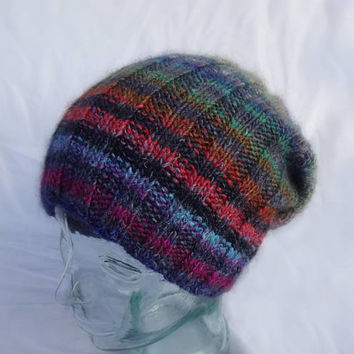 Knit Watchcap, Ribbed Beanie, Striped Toque, Multi Color Striped Hat, Noro Mohair Silk Wool Blend, Winter Cap, Mens Womens Teens Winter Hat