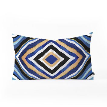 Elisabeth Fredriksson Blue Slice Oblong Throw Pillow