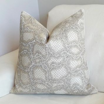 Designer Pillows/ Ophidian Snakeskin Pillow/ Exotic Pillow Cover/ Grey Sand Throw Pillow/ Studio Velvet Back