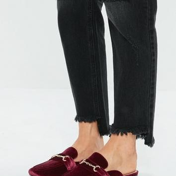 Missguided - Burgundy Slip On Velvet Mule