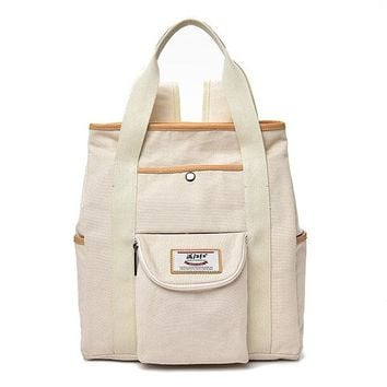 Canvas Casual White Laptop Computer School Bag Travel Backpack