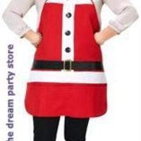 Women's Holiday Apron & Hat Set Costume - Red - One-Size