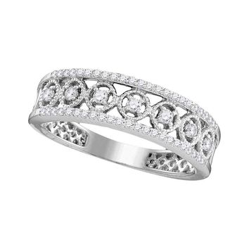 10kt White Gold Womens Round Diamond Filigree Symmetrical Band Ring 1/4 Cttw
