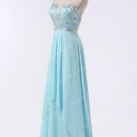 Long Formal Bridesmaid Beaded Ball Gown Prom Wedding Masquerade Evening Dress