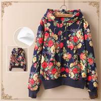 Japanese harajuku flower printing hooded fleece