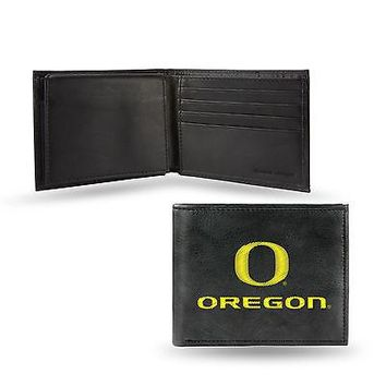 Oregon Ducks Wallet Premium Black LEATHER BillFold Embroidered University of