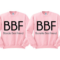 Pink Crewneck Blonde Best Friend Brunette Best Friend Sweatshirt Sweater Jumper Pullover