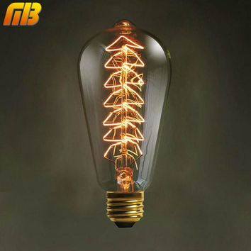 Vintage Edison Bulbs E27 220V 110V Christmas Tree Incandescent Bulbs 40W ST64 Filament Retro Edison Light For Pendant Lamp