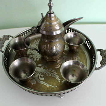 SUMMER SALE! Antique Arabic Islamic Middle Eastern Dallah Coffee Tea Set 1463, Home Decor, Floral Design, Teapot Tray Brass Turkish Moroccan