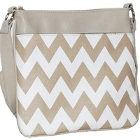 Taupe/White Chevron Faux Leather Fashion Cross Body Messenger Bag