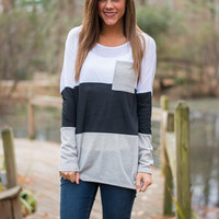 Around The Block Top, Gray/Black