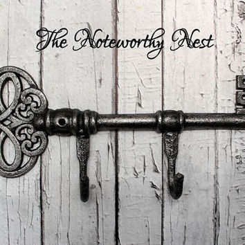 Large key wall hook // Cast Iron Key // Cast Iron Hook // Coat hook // towel hook // large hook // skeleton key hook // silver black hook