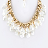 PEARL TEARDROPS LAYER STATEMENT NECKLACE SET