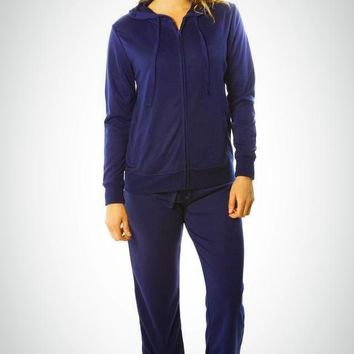 Navy French Terry Hoodie Jacket and Pant Set