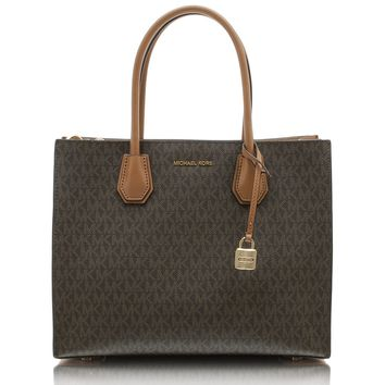 Michael Kors Women's Large Mercer Signature Twill Convertible Tote Leather Shoulder Bag
