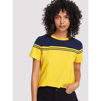Yellow Striped Cut And Sew Tee
