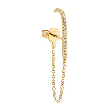 Diamond Chain Hook Stud Earring 14K