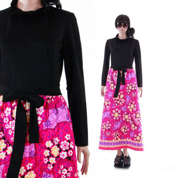 1970's Hot Pink Quilted Floral Maxi Dress Long Sleeve Black Boho Chic Hippie Womens Vintage Clothing Size Small Medium