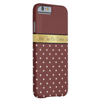 Gold Monogram Chic Raisin Brown & White Polka Dots iPhone 6 Case