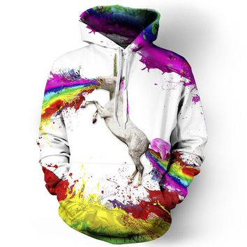 Drop shipping Rainbow Unicorn hoodie sweatshirts printed animal Horse 3d Hoodies Pullovers Crewneck hoody feminina clothing