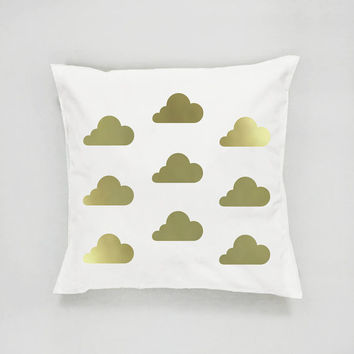 Clouds Pattern Pillow, Gold Clouds Pillow, Home Decor, Cushion Cover, Throw Pillow, Nursery Decor, Modern Pillow, Bed Pillow, Gold Pillow