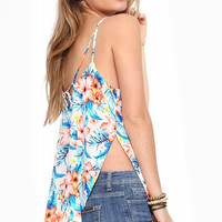 Strappy Tropical Print Top with Side Slits