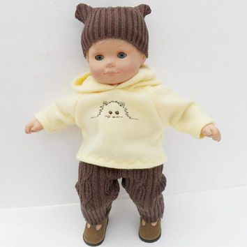 american made bitty baby doll clothes 15 inch twin boy or girl, hoodie yellow brown pants embroidered kitty cat kitten, adorabledolldesigns