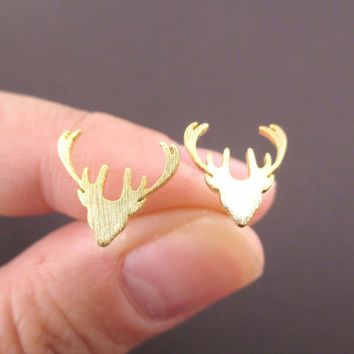Stag Deer Doe Silhouette Shaped Stud Earrings in Gold
