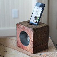RAD block (reclaimed acoustic dock) reclaimed wood iphone speaker