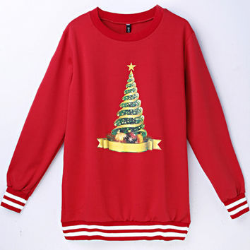 Long Sleeve T-shirts Ugly Christmas Sweater Christmas Pattern Ugly Christmas Sweater Print Round-neck Hoodies [9440719236]