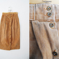 Vintage 90s Brown Denim Midi Button Up Skirt / Long / Pencil