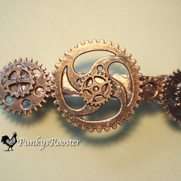 Large Barrette Copper Colored Metal Steampunk Bride Alternative Wedding Goth Girl Punk Industrial Chic Hair Accessory Barrette