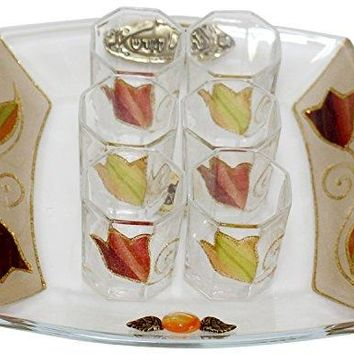 Cheers Collection Liquor Set with 6 Glasses And Tray Tulip - Colorful - Tray 8  inch  X 8  inch  - Cup 2  inch  H
