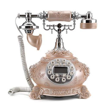 LNC Retro Reproduction Telephone with Push Button Dial, Pink