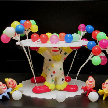 1973  Wilton Clown Cake Toppers  Circus Ballons 2 Tiers Birthday Party Hard Plastic 20 piece Set