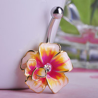 2014 Statement Enamel Esmalte Flowers Navel Belly Button Rings Plug Sex Body Jewelry Percing Sobretudo feminino Nombril Vaz
