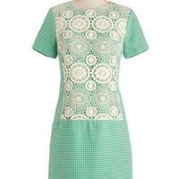 ModCloth Vintage Inspired Mid-length Short Sleeves Shift How Far Weave Come Dress