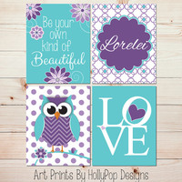 Nursery Decor Purple Aqua Art Prints Be Your Own Kind of Beautiful Owl Nursery Wall Decor Modern Girls Room Art Prints Personalized #0827