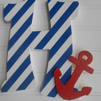Wooden Letter - Anchor Decor - Letters - Wall Decor - Nautical Decor - Nautical Nursery - Anchor Nursery - Sports Nursery - Airplane Nursery