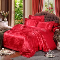 Chinese wedding style Red flowers Jacquard bedding 100%cotton Bedding Sets Silk Duvet Cover Sets Queen King Size